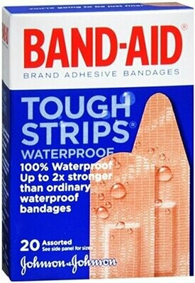 Band-Aid Brand Adhesive Bandages, Tough Strips, Waterproof 20 Count