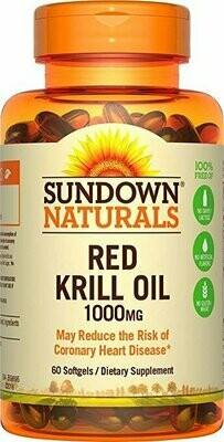Sundown Naturals Triple Strength Red Krill Oil 1000 mg, 60 Softgels