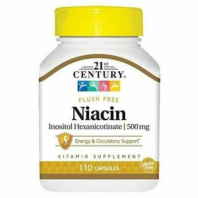 21st Century Niacin 500 mg Flush Free Capsules, 110 Count