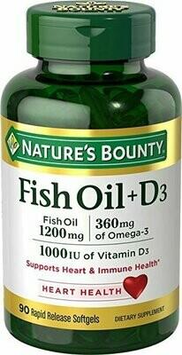 Nature's Bounty Fish Oil 1200 mg + Vitamin D3 1000 IU, 90 Softgels
