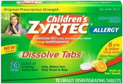 Zyrtec Children's Allergy Dissolve Tablets, Citrus, 12 Count