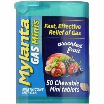 Mylanta Gas Chewable Mini Tablets, Assorted Fruit 50 Pack