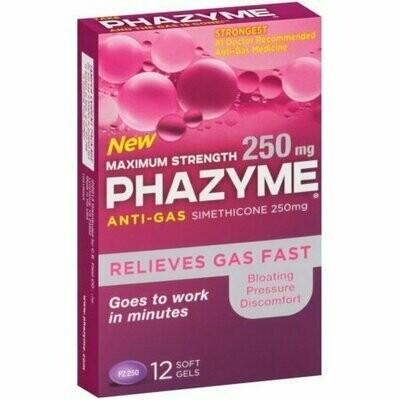 Phazyme Maximum Strength 250 mg Softgels, 12 Soft Gels