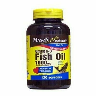 Mason Vitamins Fish Oil 1000 mg Omega-3 Softgels, 60 Count