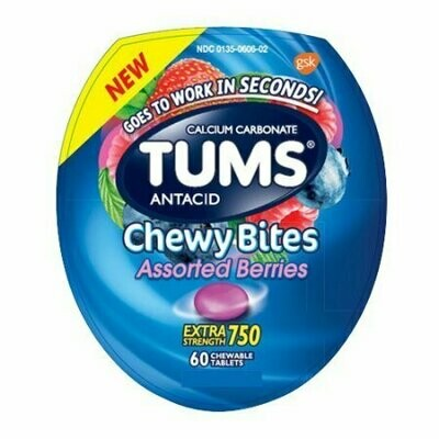 Tums Antacid Chewy Bites Assorted Berries Chewable Tablets, 60 Each