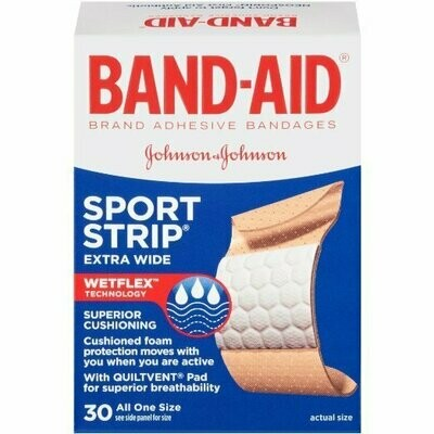 BAND-AID SPORT STRIP EXTRA WIDE 1 SIZE 30 CT