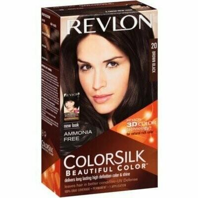 Revlon ColorSilk Hair Color, 20 Brown Black 1 each