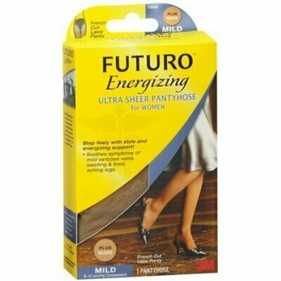 FUTURO Energizing Ultra Sheer Pantyhose For Women French Cut Lace Panty Mild Plus Nude 1 Pair