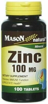 Mason Natural Zinc, 100mg, Tablets, 100 each