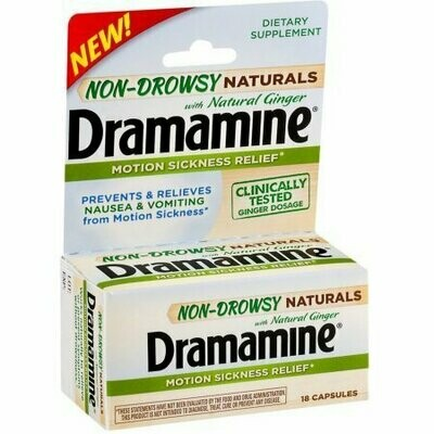 Dramamine Non-Drowsy Naturals Motion Sickness Relief Capsules with Natural Ginger 18 each