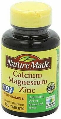 Nature Made Calcium, Magnesium & Zinc w. Vitamin D Tablets 100ct