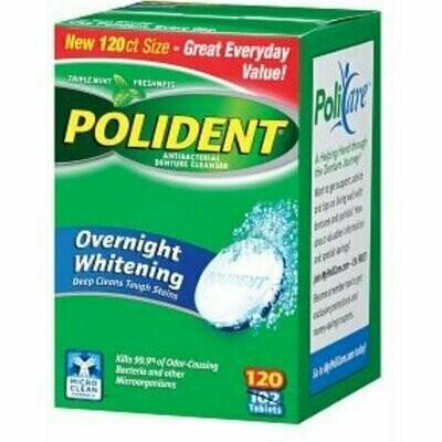 Polident Overnight Whitening, Antibacterial Denture Cleanser, Triple Mint Freshness 120 each