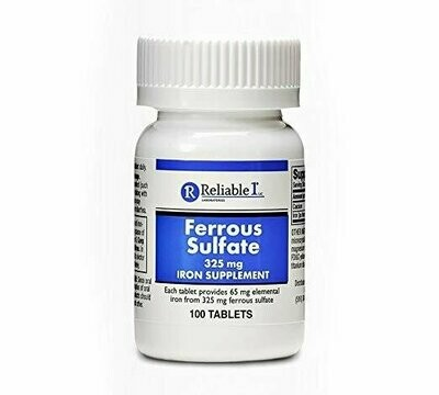 Ferrous Sulfate Iron 325 mg Generic for Feosol 100 Tablets