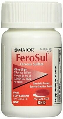 FeroSul�� 325mg (5GR) Ferrous Sulfate Coated Easy-To-Swallow 100 ct. Tablets (Red) by Feosol