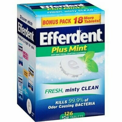 Efferdent Plus Mint Anti-Bacterial Denture Cleanser Tablets 126 each
