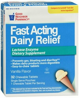 GNP DAIRY RELIEF FAST/ACTING CHEWABLE TABS 32 CT