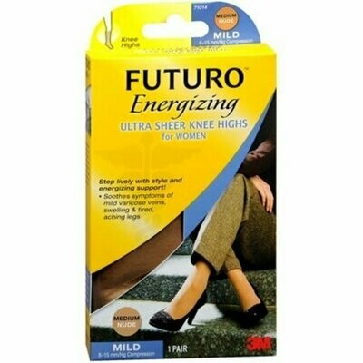 FUTURO Energizing Ultra Sheer Knee Highs Mild Medium Nude 1 Pair