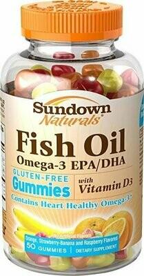 Sundown Naturals Omega Plus D3 Gummies, 50 Count