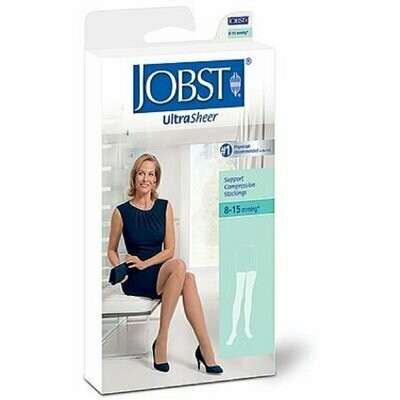 JOBST Ultra Sheer Knee High Stockings, Silky Beige, 8-15 mmHg Large 1 Pair