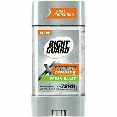 Right Guard Xtreme Defense 5 Antiperspirant Gel, Fresh Blast 4 oz
