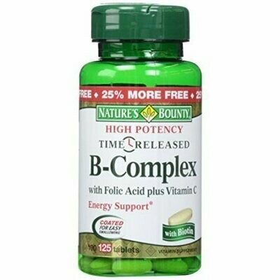 Nature's Bounty B-Complex with Folic Acid plus Vitamin C Tablets 125 Each