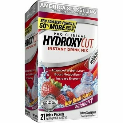 Pro Clinical Hydroxycut Weight Loss Supplement Wildberry Instant Drink Mix Packets, 21 count, 1.7 oz