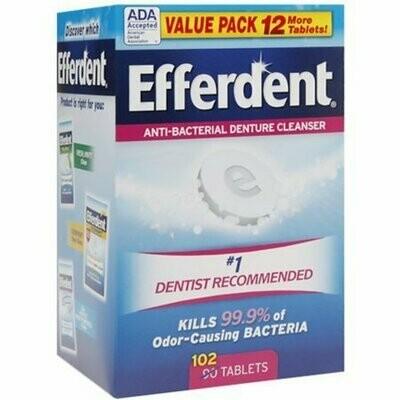 Efferdent Anti-Bacterial Denture Cleanser Tablets 102 each