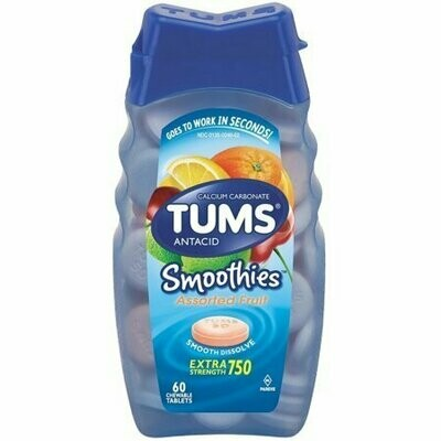 TUMS Smoothies Antacid Chewable Tablets, Assorted Fruit 60 each