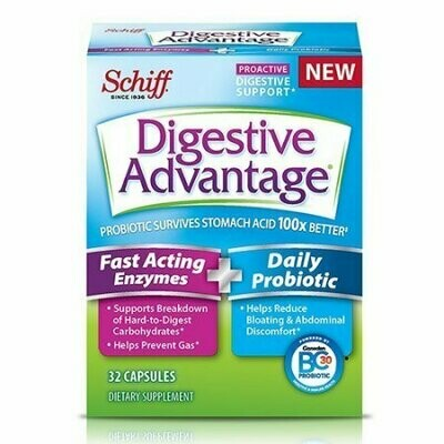 Digestive Advantage Fast Acting Enzymes And Daily Probiotic 32 Capsules