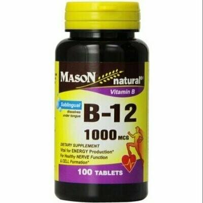 Mason Natural Vitamin B-12 1000mcg, Sublingual Tablets 100 ea