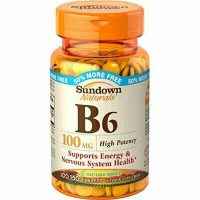 Sundown Naturals Vitamin B-6 100 mg, 150 Tablets Each