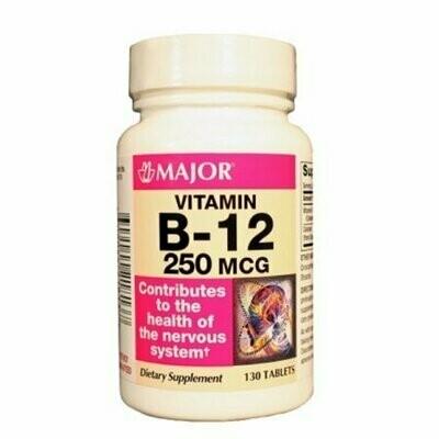 MAJOR B-12 250MCG TABS CYANOCOBALAMIN-250 MCG Pink 130 TABLETS