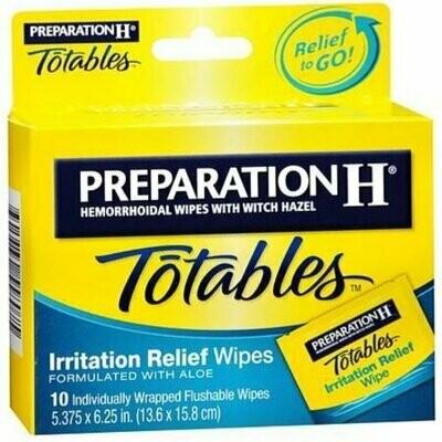 Preparation H Totables Irritation Relief Wipes 10 Each