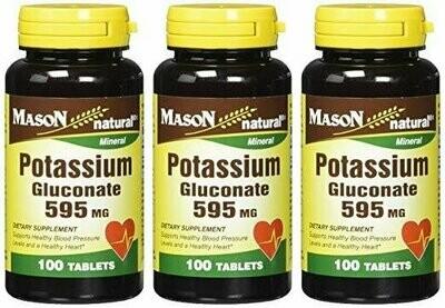Mason Natural, Potassium Gluconate, 595 Mg Tablets, 100-Count Bottles