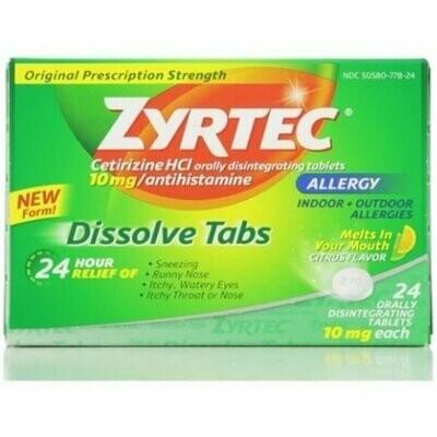 Zyrtec 24 Hour Allergy Dissolve Tablets, Citrus 24 each