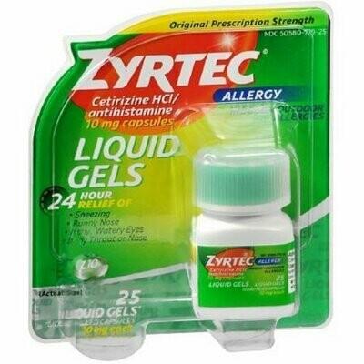 Zyrtec 24-Hour Allergy Relief, 10 mg, Liquid Gels 25 each