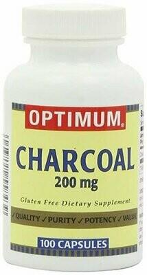 Optimum Charcoal Capsules, 200 Mg, 100 Count