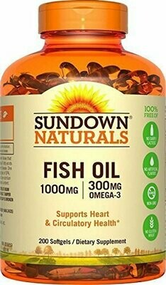 Sundown Naturals Fish Oil 1000 mg, 200 Softgels