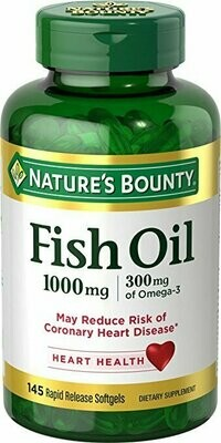 Nature's Bounty Fish Oil Omega-3 1000 mg Softgels 145 each