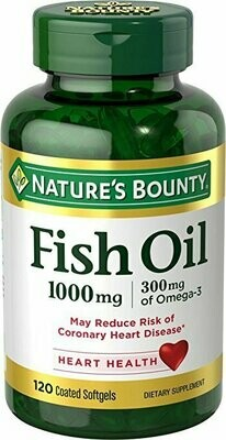 Nature's Bounty Fish Oil 1000 mg Omega-3 & Omega-6, 120 Odorless Softgels