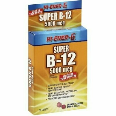 Hi-Ener-G Super B-12 5000 mcg Tablets 30 Tablets
