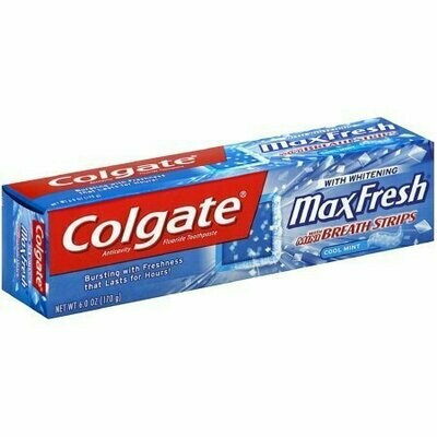 Colgate Max Fresh Whitening Toothpaste With Mini Breath Strips, Cool Mint 6 oz