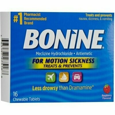 Bonine Chewable Tablets for Motion Sickness, Raspberry 16 each