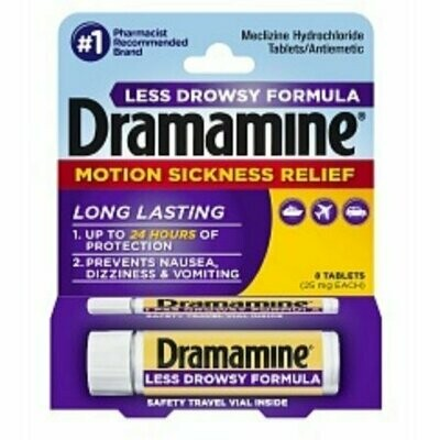 Dramamine Motion Sickness Relief Less Drowsy Formula Tablets 8 each