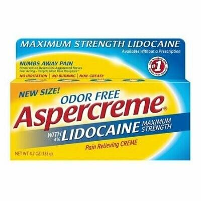 Aspercreme Maximum Strength Lidocaine Pain Relieving Creme, Non Greasy, 4.7 Oz
