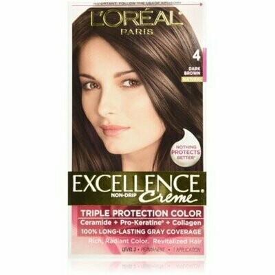 L'Oreal Paris Excellence Triple Protection Permanent Hair Color Creme, Dark Brown [4] 1 each