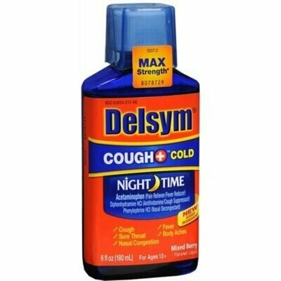 Delsym Adult Liquid Cough + Cold Nighttime, Mixed Berry 6 oz