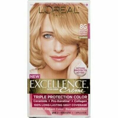 L'Oreal Paris Excellence Creme Haircolor, Medium Golden Blonde [8G] (Warmer) 1 each