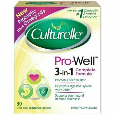 Culturelle Pro-Well 3-in-1 Complete Formula Probiotic Vegetarian Capsules 30 pack