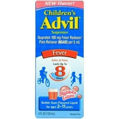 Advil Ibuprofen Fever Reducer/Pain Reliever Oral Suspension, Bubble Gum 4 oz